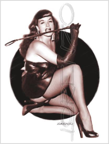 Lorenzo artworks, pin-up art, tribute to Bettie Page