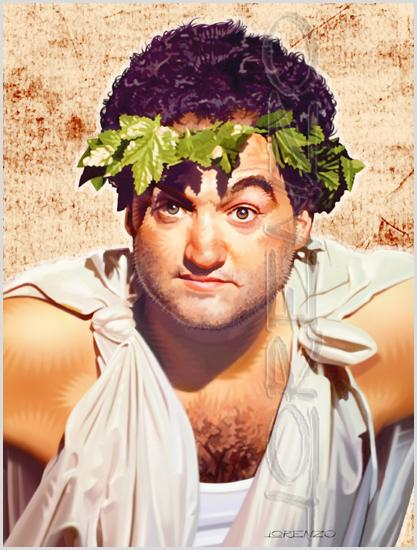 Lorenzo artworks, portraits, John Belushi as Bluto Blutarsky