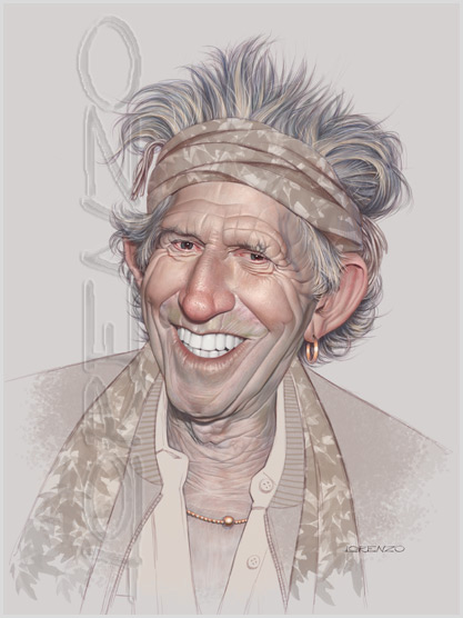 Lorenzo artworks, caricatures, Keith Richards