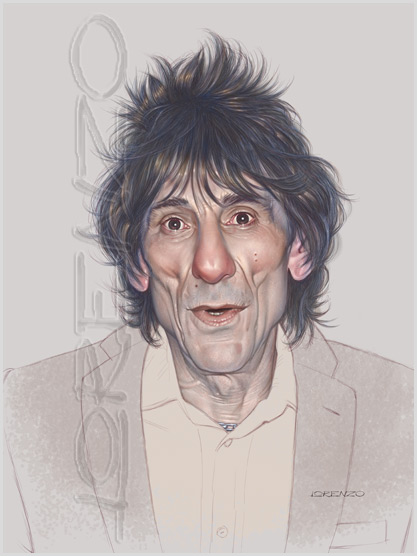Lorenzo artworks, caricatures, Ronnie Wood