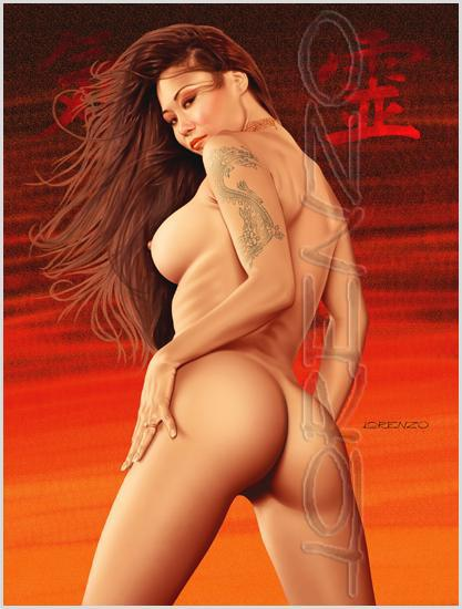 Lorenzo artworks, pin-up art, Model Yuki
